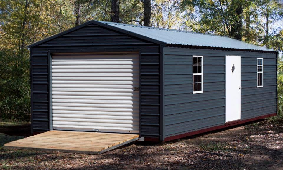 blue-metal-storage-building
